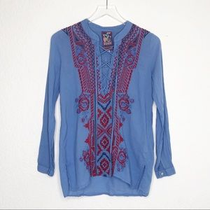 Johnny Was | Blue Embroidered Long Sleeve Top XS